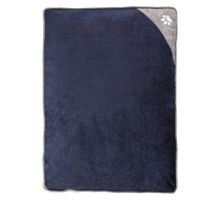 Tapis, coussin pour chien déhoussable dessous antidérapant 75x58cm coloris bleu et gris