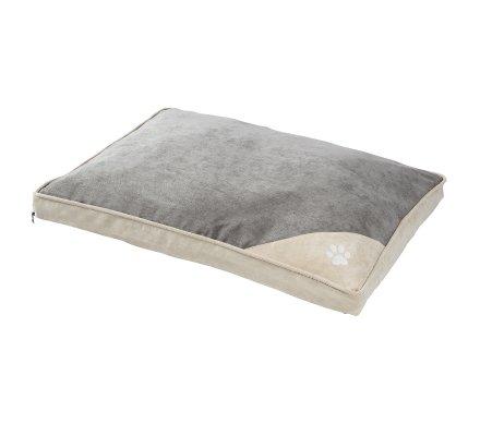 Tapis, coussin pour chien déhoussable dessous antidérapant 75x58cm coloris gris et beige