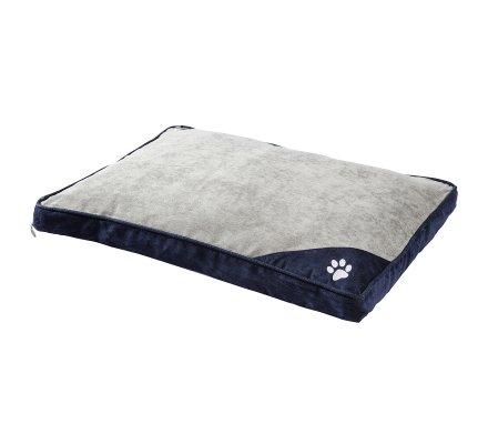 Tapis, coussin pour chien déhoussable dessous antidérapant 75x58cm coloris gris et bleu