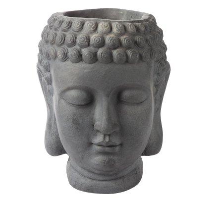 Tête de Bouddha cache pot en résine grise H 44cm x D 34cm