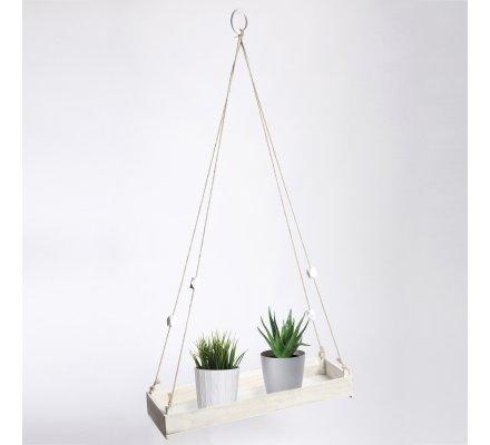 Etagère déco à suspendre en bois blanc et corde 90x49x17cm
