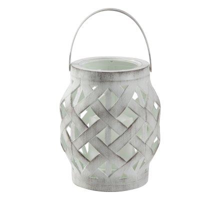Lanterne Led en plastique effet tressé à suspendre ou poser coloris blanc
