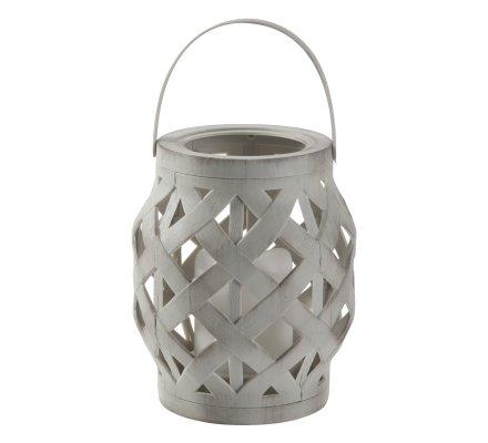 Lanterne Led en plastique effet tressé à suspendre ou poser coloris gris