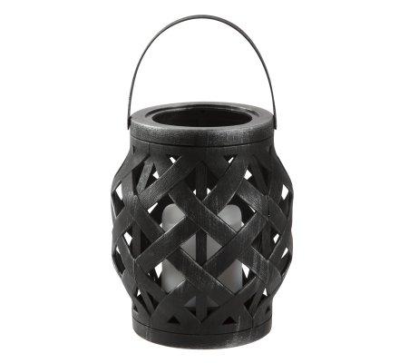 Lanterne Led en plastique effet tressé à suspendre ou poser coloris noir