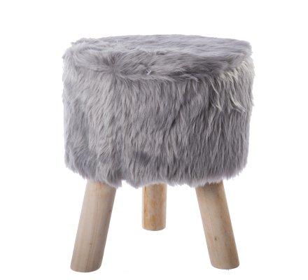 Petit tabouret effet fourrure et pieds bois coloris gris clair H 33cm