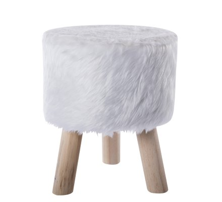 Petit tabouret effet fourrure et pieds bois coloris blanc H 33cm
