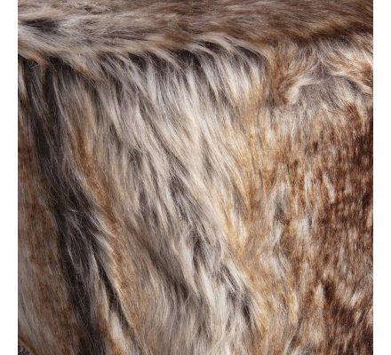 Petit tabouret avec fourrure synthétique et pieds en pin coloris marron beige H 34cm