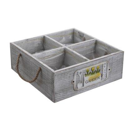 Jardinière, pot en bois 4 compartiments intérieur plastifié avec poignées 24x24cm