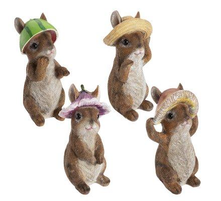 Lot de 4 statues déco lapin avec chapeau en résine assortis 17cm
