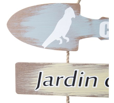 Pancarte, panneaux déco en bois et ficelle à suspendre thème jardin H 60 cm