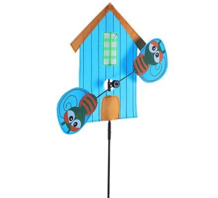 Moulin à vent forme maison et abeille bleu H113cm