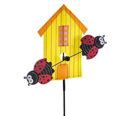 Moulin à vent forme maison jaune et coccinelle H113cm