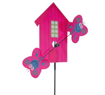 Moulin à vent forme maison et papillon rose H113cm