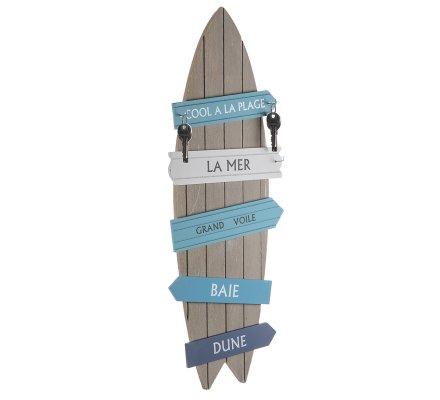 Planche de surf déco murale en bois avec pancarte et crochets H60cm