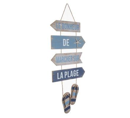 Pancarte, panneaux déco en bois et ficelle à suspendre thème plage 103cm