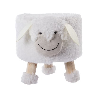 Petit tabouret en forme de mouton blanc, pieds en bois H 30cm
