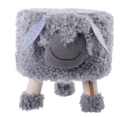 Petit tabouret en forme de mouton gris, pieds en bois H 30cm