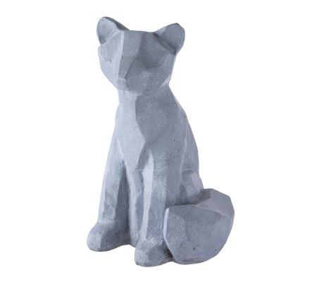 Statue déco renard design en résine grise intérieur ou extérieur 50x27x31cm