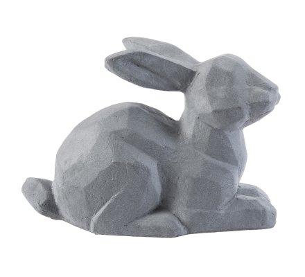 Statue déco lapin design en résine grise intérieur ou extérieur 33x50x18cm
