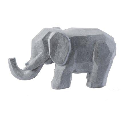 Statue déco éléphant design en résine grise intérieur ou extérieur 30x57x22cm