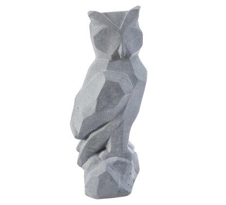 Statue déco hiboux design en résine grise intérieur ou extérieur 45x20x20cm