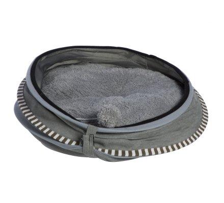 Panier, niche pour chat pliable en dôme avec pompon coloris gris