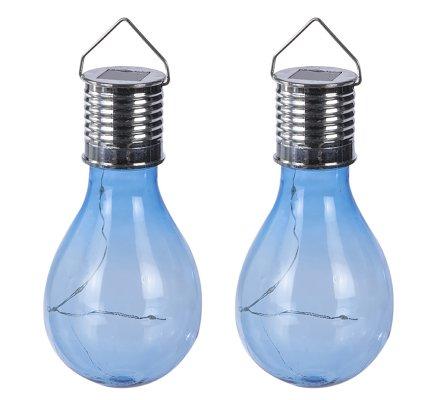 Lot de 2 ampoules led, suspensions solaires en plastique bleu
