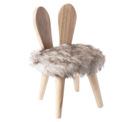 Petit tabouret avec oreilles de lapin en pin et effet fourrure H45xD30cm
