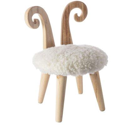 Petit tabouret avec cornes de bélier en pin et effet fourrure H45xD30cm