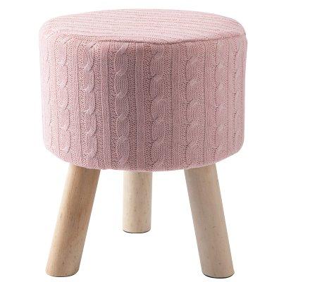 Petit tabouret façon maille de tricot rose et pieds bois H 33cm