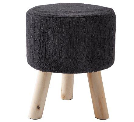 Petit tabouret façon maille de tricot noir et pieds bois H 33cm