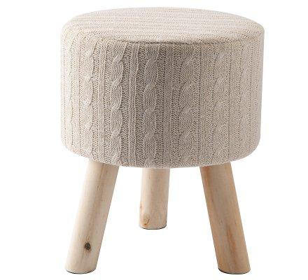 Petit tabouret façon maille de tricot beige et pieds bois H 33cm