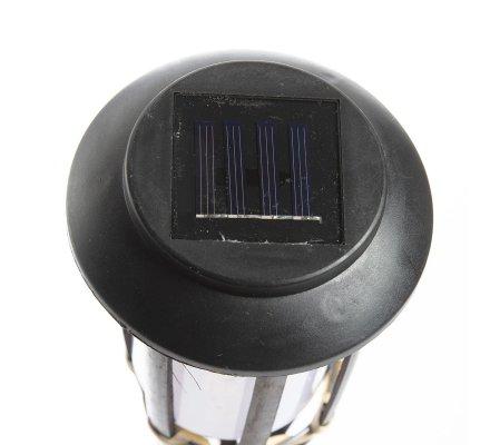 Torche solaire Led à planter en bambou noir H 65cm