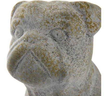 Statue déco chien assis en résine effet vieilli intérieur extérieur 24,5cm