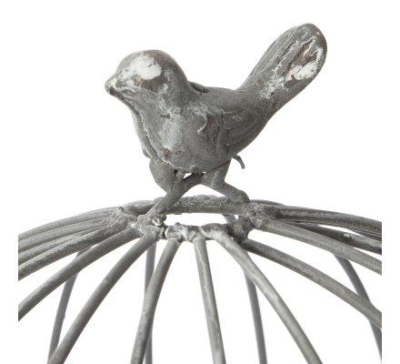 Cage déco ronde en métal avec oiseau et fermoir H 39cm
