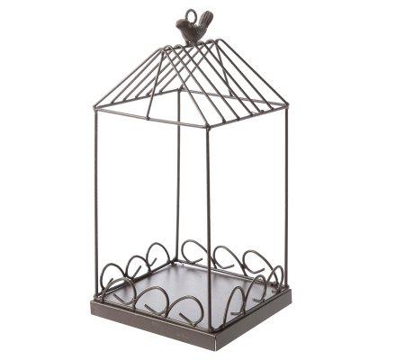 Cage déco en métal avec cache-pot en béton à poser ou suspendre H 33cm