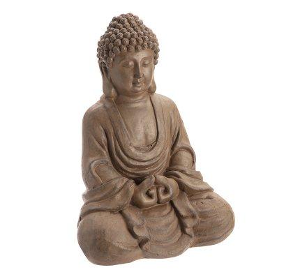 Statue déco Bouddha assis en méditation H42cm marron