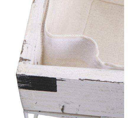Panier à linge, corbeille en métal et bois blanc style industriel avec panier en tissu amovible