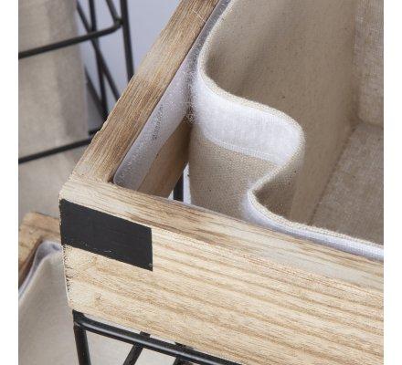 Panier à linge, corbeille en métal noir et bois style industriel avec panier en tissu amovible