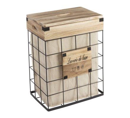 Lot de 3 paniers avec une corbeille à linge en métal et bois style industriel avec panier tissu amovible