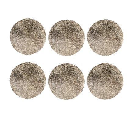 Lot de 6 sets de table ronds dorés D 37cm