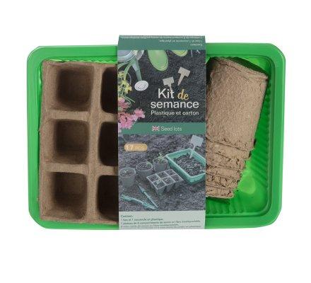Kit démarrage de semences avec mini serre, godets en fibre biodégradable, étiquettes de marquage et 2 outils