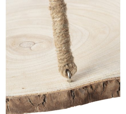 Etagère rondin de bois déco avec corde à suspendre H76cm x D34cm