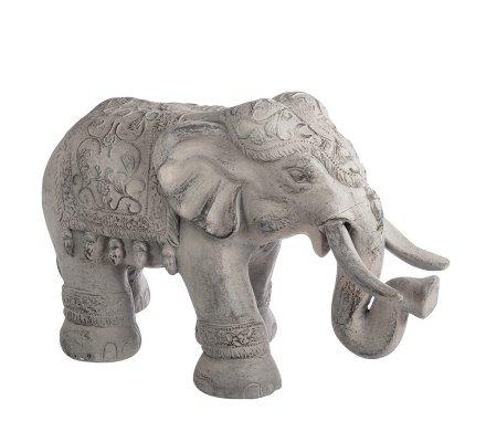 Statue déco extérieur éléphant en résine gris 64cm