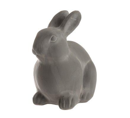 Statue déco lapin en résine gris H19cm