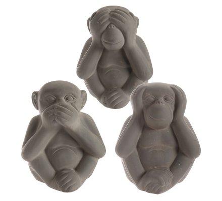 Lot de 3 statues singes sagesse en résine gris 18,5cm