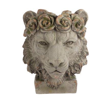 Cache-pot déco tête de lion en résine H44cm x D37cm