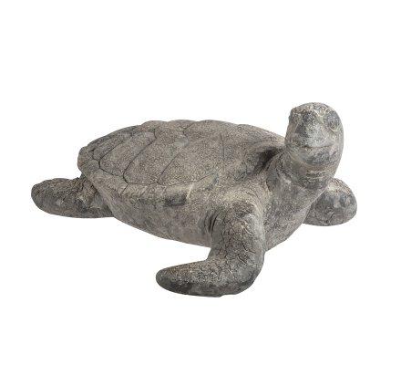 Statue déco tortue de mer en résine gris et doré 58cm