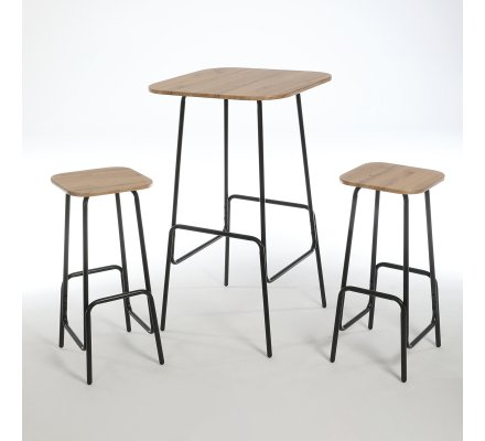 Ensemble table haute avec 2 tabourets de bar en métal plateau MDF finition PVC