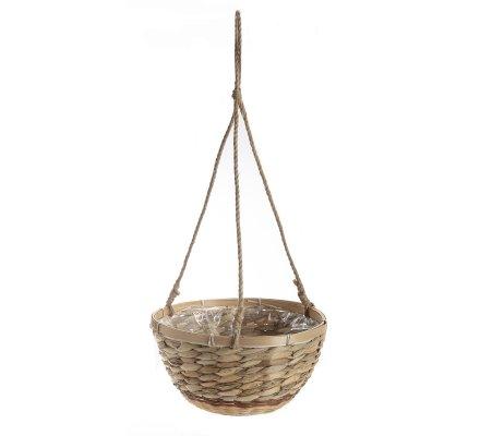 Panier, cache-pot à suspendre en bambou et osier intérieur plastifié D30cm